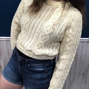 VTG Mock Neck Cropped Cable Knit Sweater 80s 90s